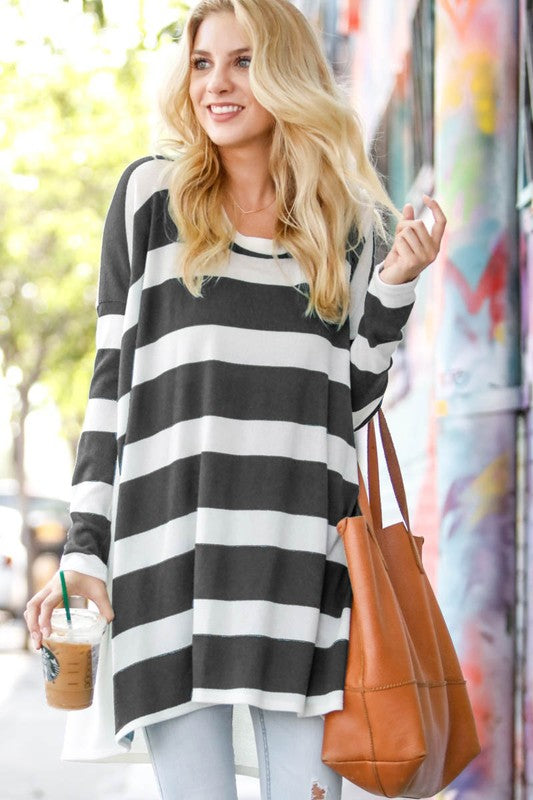 Long sleeve Over size stripe tunic