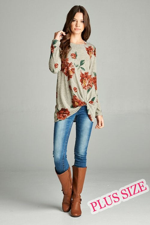 Floral Print Plus Sizer Top
