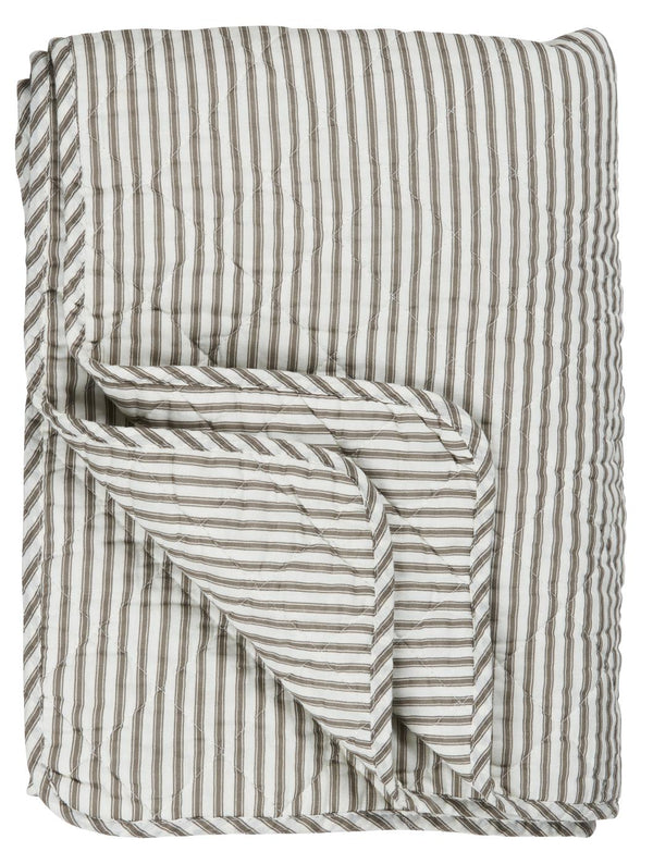 Quilt white w/khaki coloured stripes