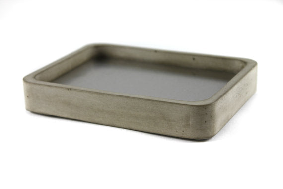 Concrete and Stainless Steel Soap Dish