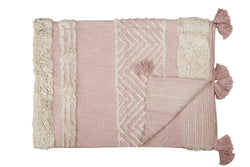 Desert Rose Tufted Throw, Pink & White