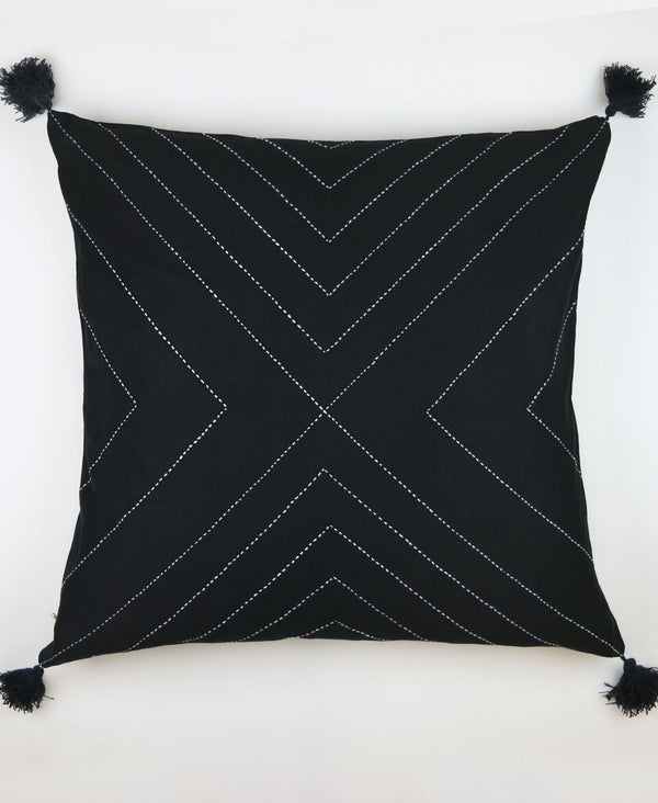 Charcoal Geo Tassel Toss Pillow