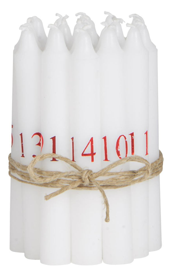 Christmas calender candles 1-24 w/red numbers