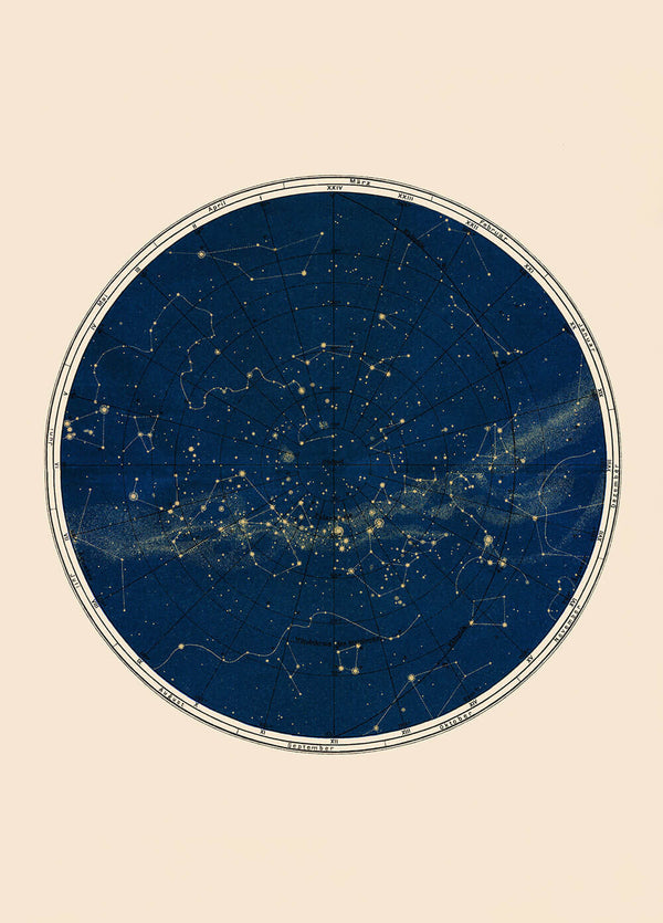 Blue Constellation Chart - 2 sizes