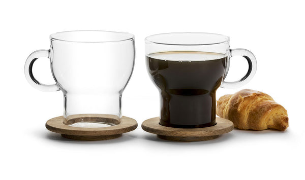 Glass Mug with Oak Coaster 2 Pack