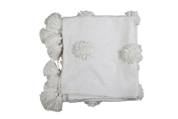 Casa Amarosa - Snow Flake Throw, White- 50 x 60 Inches