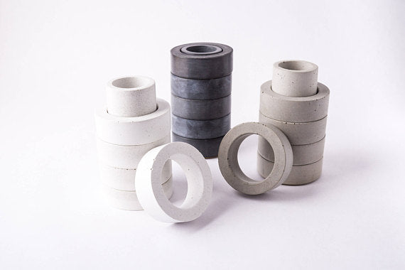Concrete Napkin Ring/Toothpick Holder Set - 3 colors