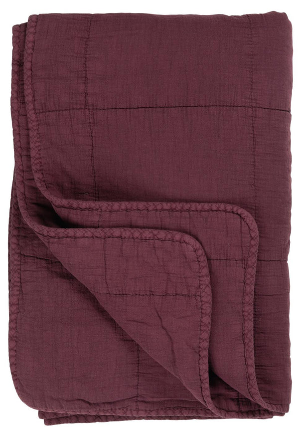 Rustic Cotton Quilt in Aubergine