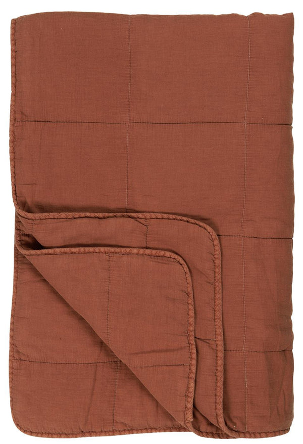 Rustic Cotton Quilt in Rust Orange