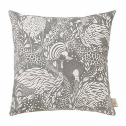 Cover me up - Cushion Cover -  Prancing peacock / Grey