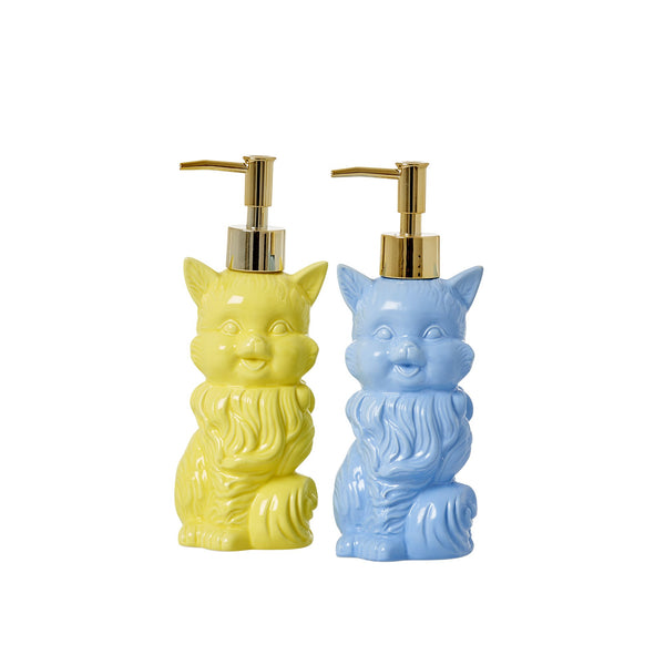 Ceramic Cat Soap Dispenser in Blue or Yellow