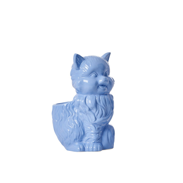 Ceramic Cat Toothbrush Holder in Blue or Yellow