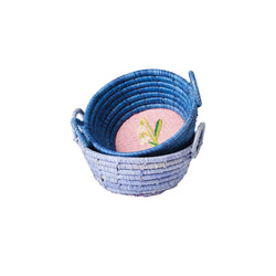 Raffia Mini Basket with Embroidery - Swan or Flower