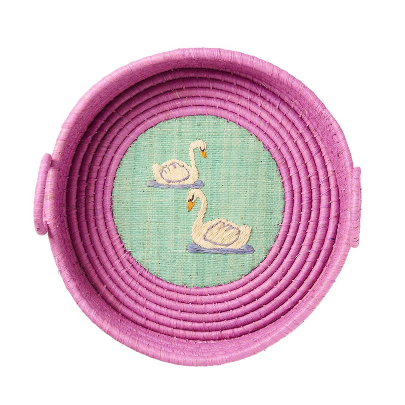 Round Raffia Bread Basket with Embroidery - Bird or Swan