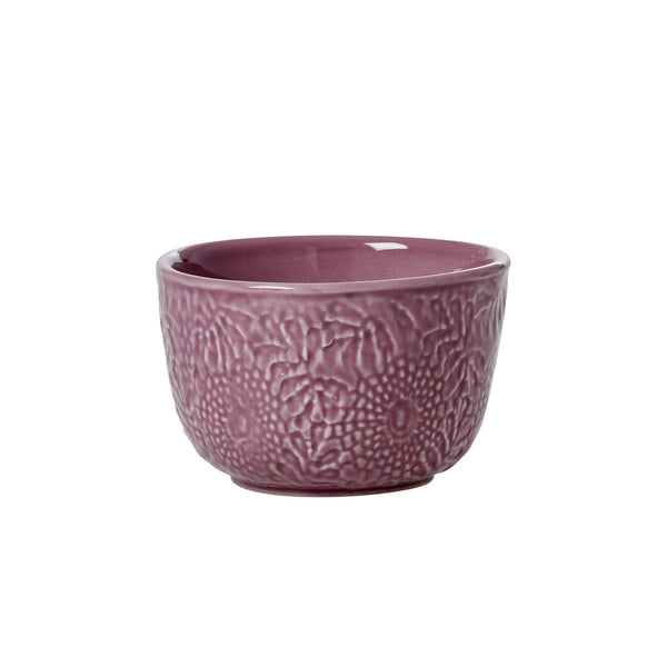 Small Embossed Stoneware Bowl in Dark Lavender