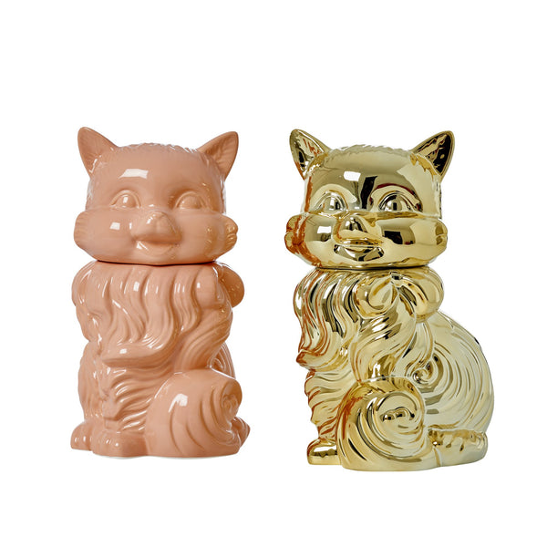 Large Cat Shaped Ceramic Jar in Coral or Gold