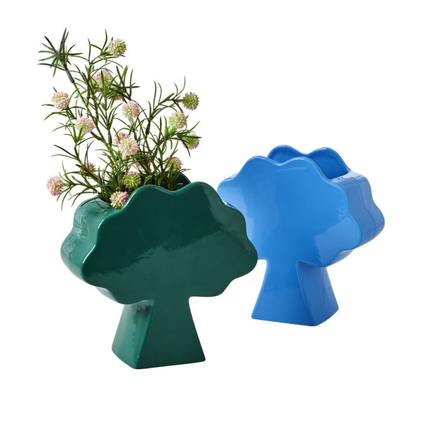 Tree Shaped  Ceramic Vase in Green or Blue