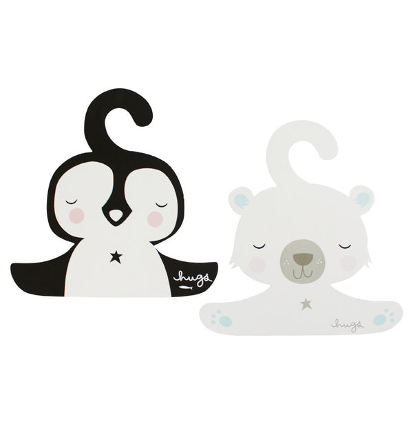 Coat Hanger Set: Penguin & Polar Bear