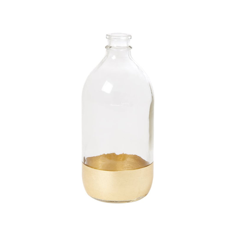 Glass Bottle with Gold Base