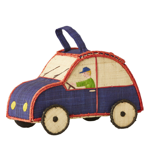 Kids Car Shaped Raffia Bag