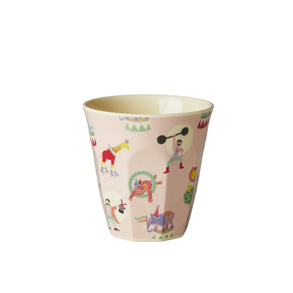 Kids Small Melamine Cup with Circus Print  - Soft Pink