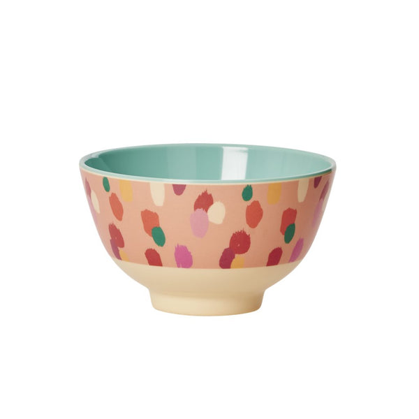 Small Melamine Bowl with Two Tone Coral Dapper Dot Print
