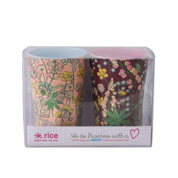 Melamine Cups with Lupin Print - 2 Assorted Color - Tall - 2 pcs.