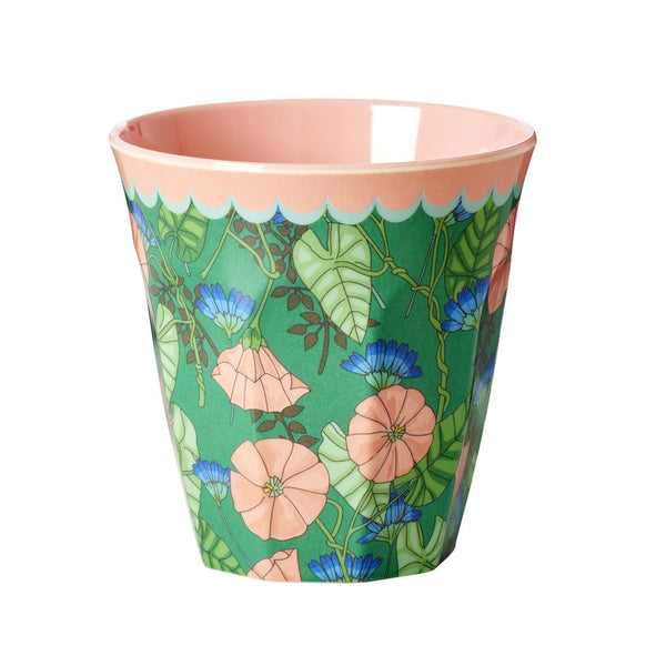 Melamine Medium Cup Two Tone with Bindweed Print