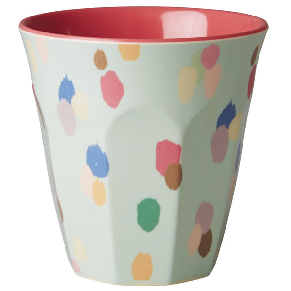 Medium Melamine Cup Two Tone with Dapper Dot Print