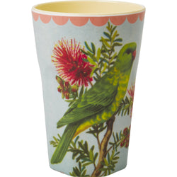 Melamine Two Tone Tall  Cup with Vintage Parakeet Print