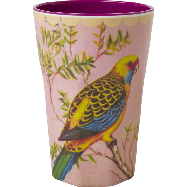 Melamine Tall Cup with Vintage Budgie Print