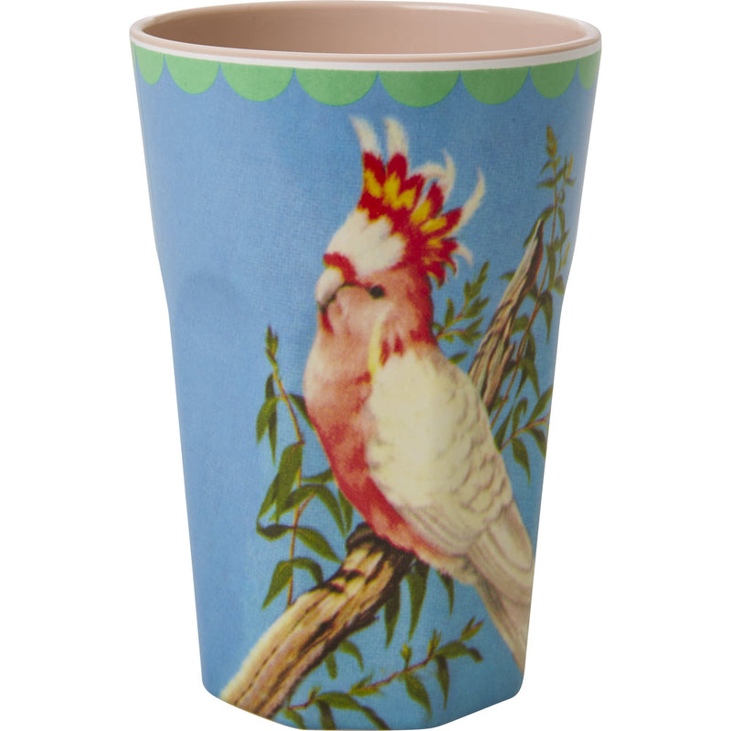 Melamine Two Tone Tall Cup with Vintage Cockatoo Print