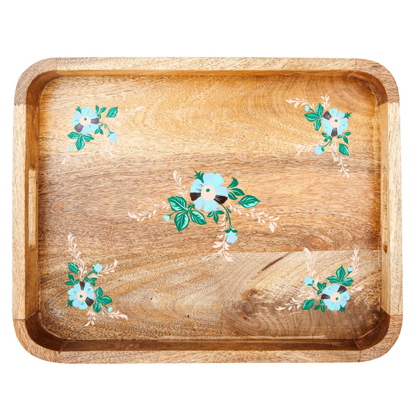 Wooden Tray with Handpainted Flowers - Blue