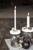 Glass f/thin candle metal cover