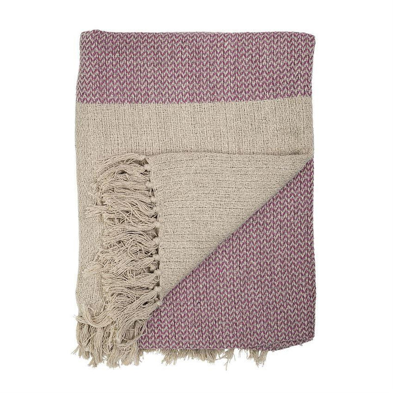 Herringbone Lavender And Khaki Throw