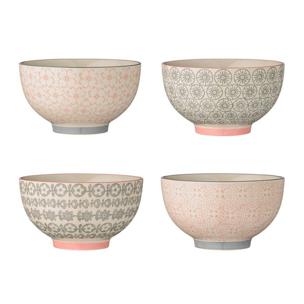 Cecile Breakfast Bowls - Grey and Pink