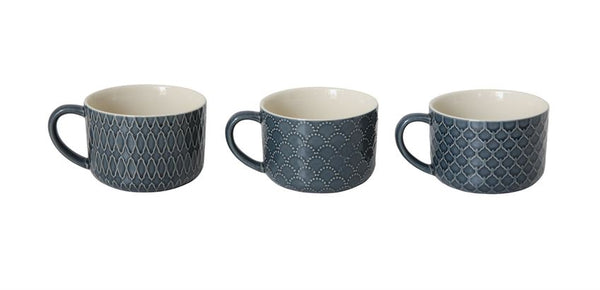 Art Deco Patterned Dark Blue Mug set of 3