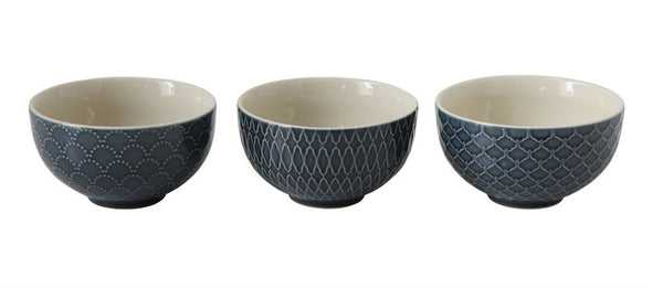 Art Deco Blue Bowls Set of 3