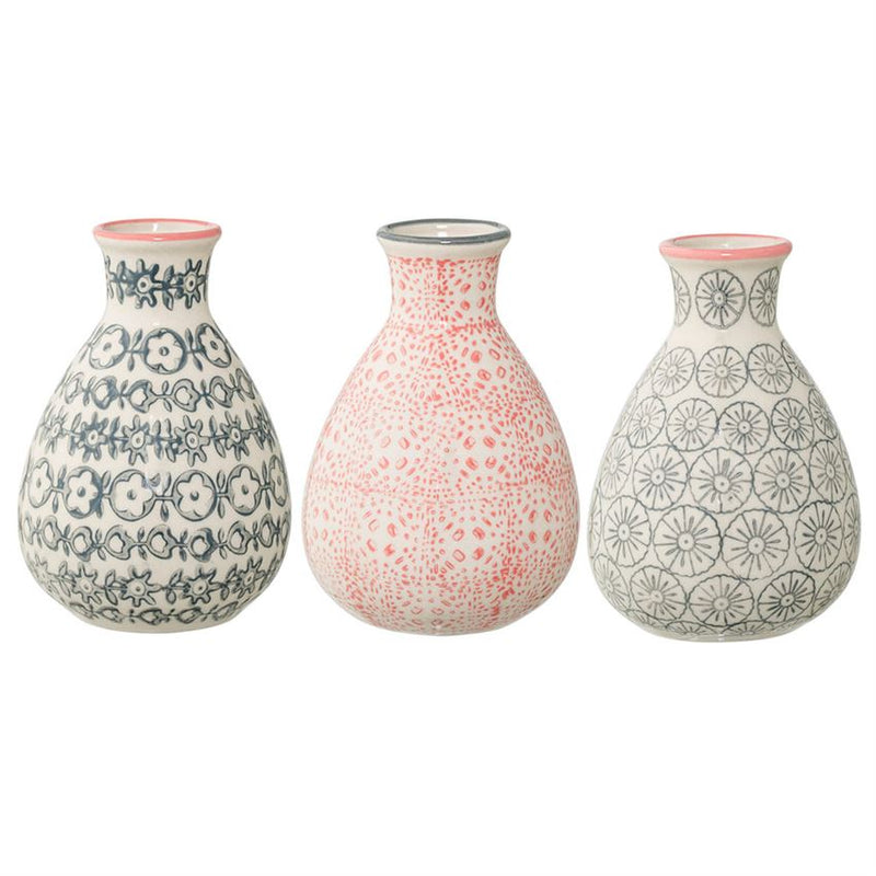 Small Cecile Vase with Patterns - Grey or Pink