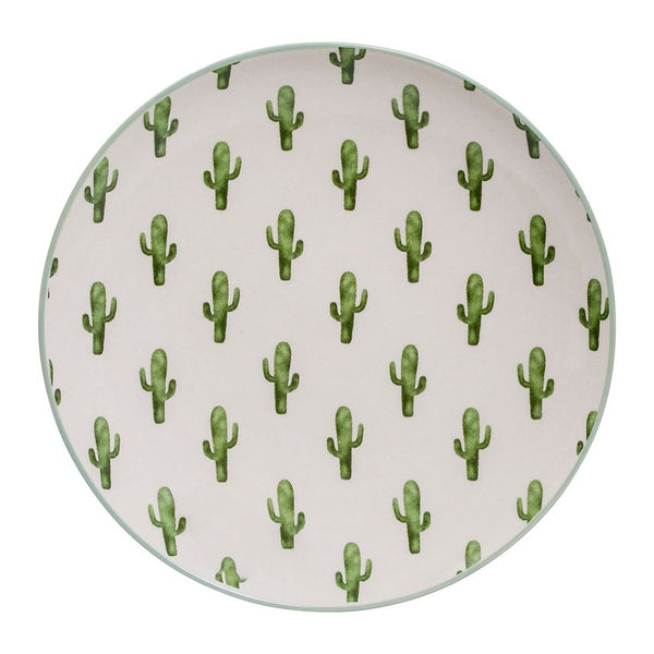 Round Jade Plate With Cactus