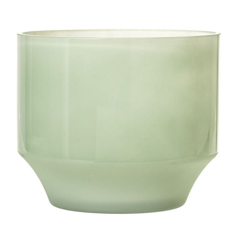 Green Glass Flower Pot