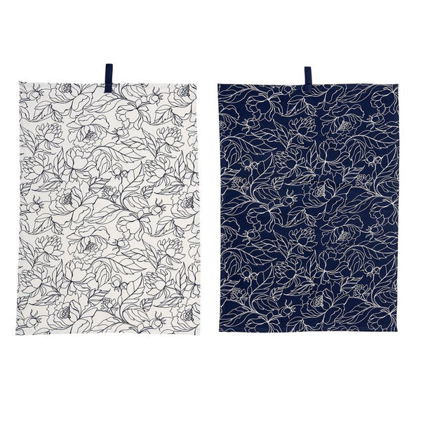 Fleur Navy and White Kitchen Towel - 2 pack