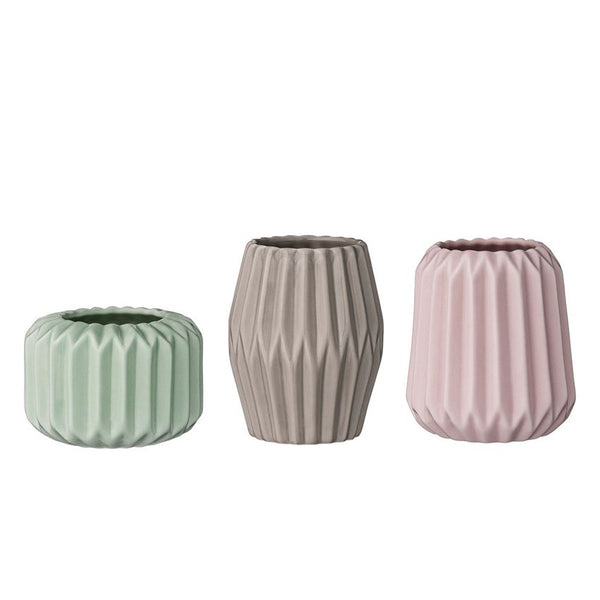 Porcelain Fluted tealight holders in pastel colors - Set of 3