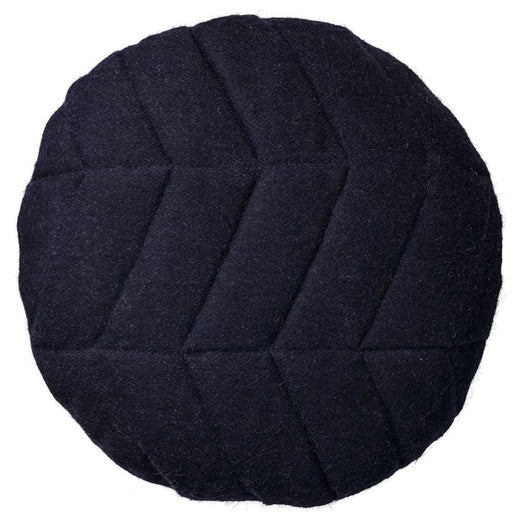 Navy Recycled Wool Round Quilted Pillow