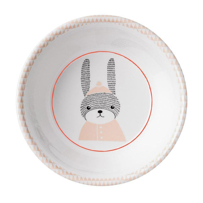 Round Melamine Sophia Bowl w/ Bunny in Powder & White