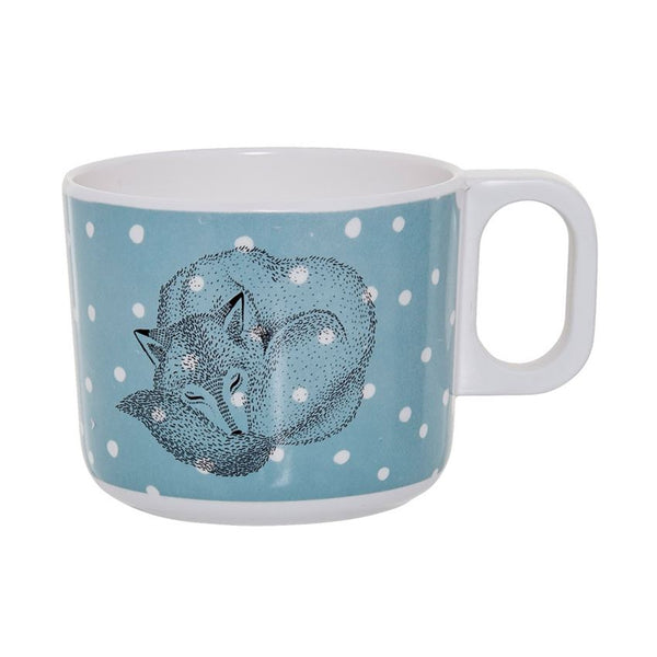Melamine Blue & White Cup with Sleeping Fox