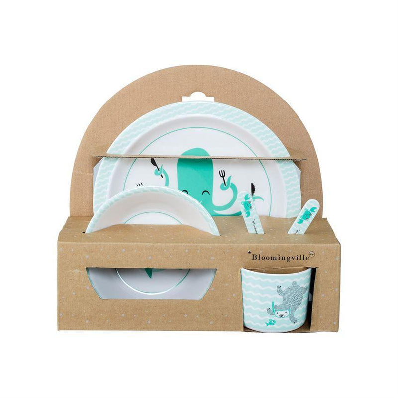 Melamine Axel Serving Set in Gift Box, Green & White