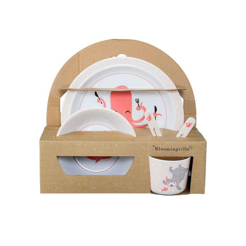 Melamine Ida Serving Set in Gift Box, Pink & White