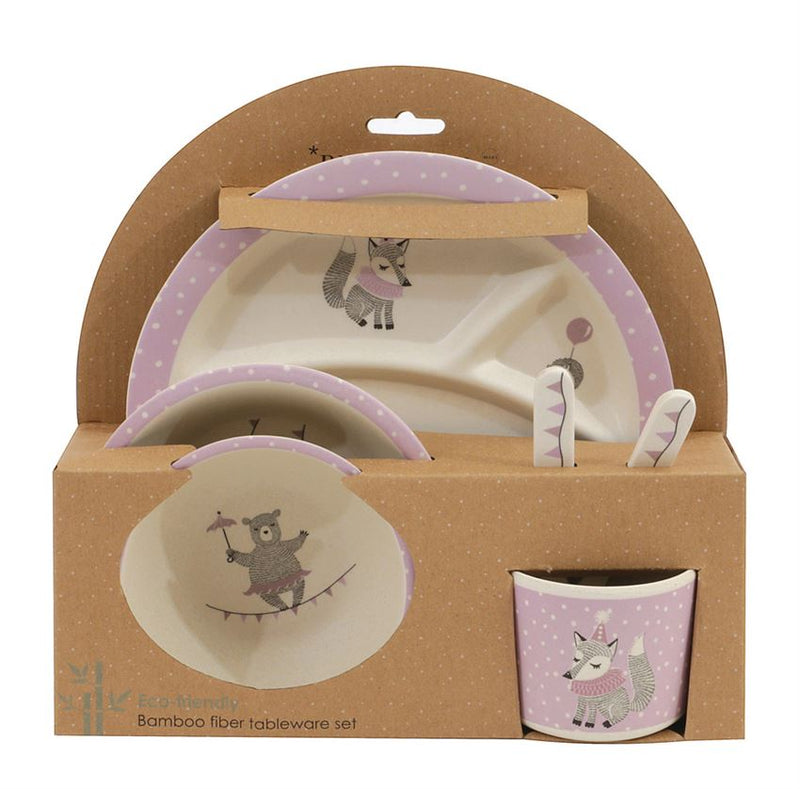 Bamboo Fiber Kids Serving Set in Gift Box, Off White/Light Purple
