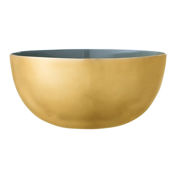Enameled Gold And Green Serving Bowl
